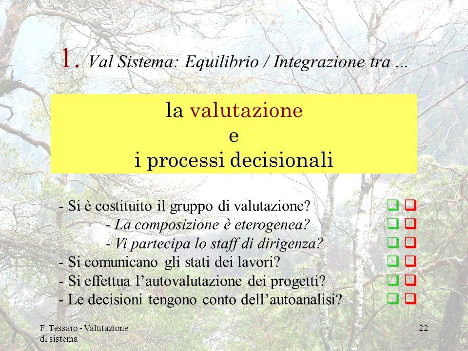 F. Tessaro - Valutazione di sistema 22 1. Val Sistema: Equilibrio / Integrazione tra... la valutazione e i processi decisionali - Si è costituito il g
