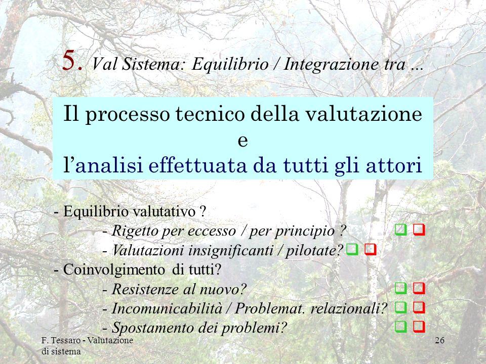 F. Tessaro - Valutazione di sistema 26 5. Val Sistema: Equilibrio / Integrazione tra... Il processo tecnico della valutazione e lanalisi effettuata da