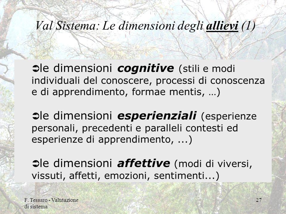F. Tessaro - Valutazione di sistema 27 Val Sistema: Le dimensioni degli allievi (1) le dimensioni cognitive (stili e modi individuali del conoscere, p