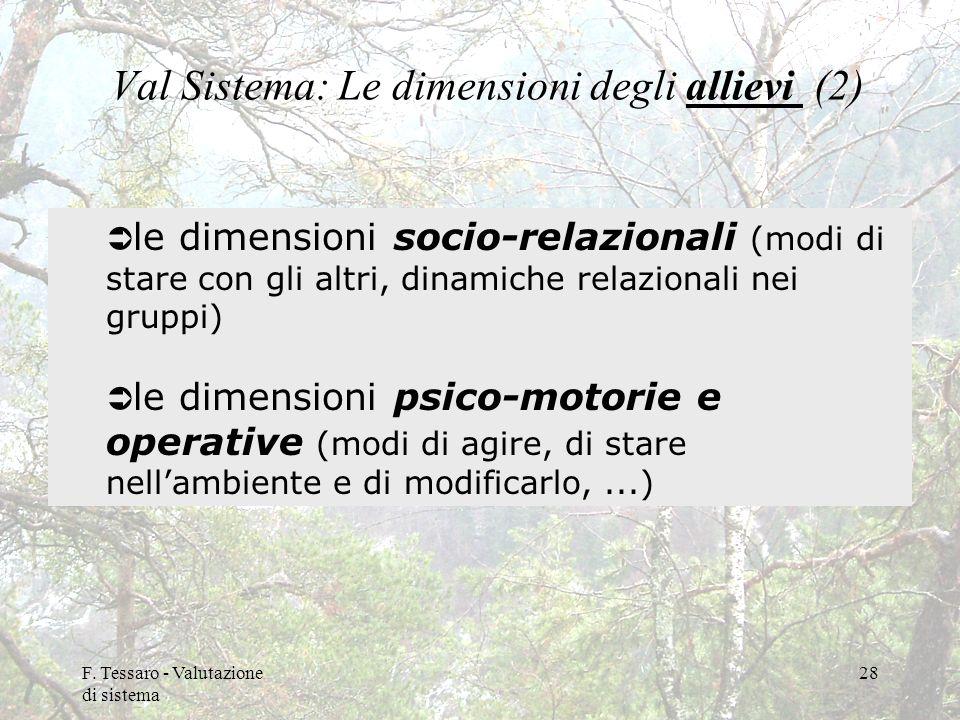 F. Tessaro - Valutazione di sistema 28 Val Sistema: Le dimensioni degli allievi (2) le dimensioni socio-relazionali (modi di stare con gli altri, dina
