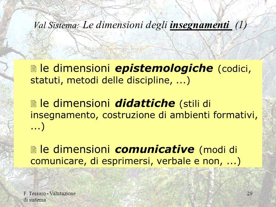 F. Tessaro - Valutazione di sistema 29 Val Sistema: Le dimensioni degli insegnamenti (1) 2 le dimensioni epistemologiche (codici, statuti, metodi dell