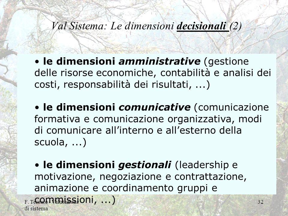F. Tessaro - Valutazione di sistema 32 Val Sistema: Le dimensioni decisionali (2) le dimensioni amministrative (gestione delle risorse economiche, con