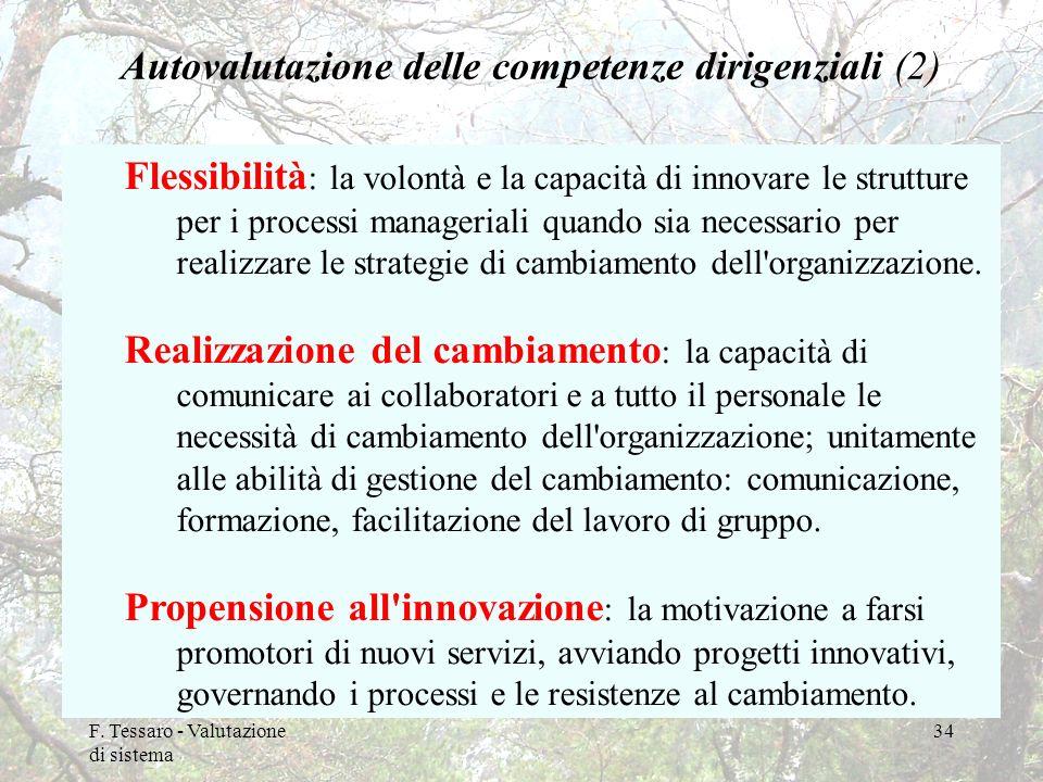 F. Tessaro - Valutazione di sistema 34 Autovalutazione delle competenze dirigenziali (2) Flessibilità : la volontà e la capacità di innovare le strutt