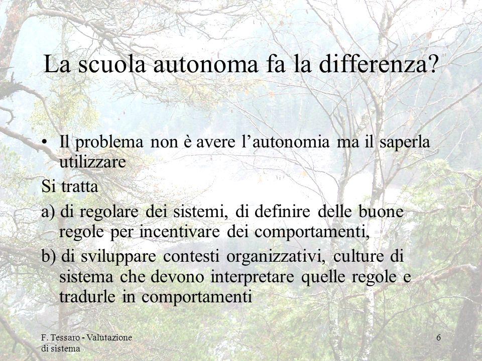 F. Tessaro - Valutazione di sistema 6 La scuola autonoma fa la differenza? Il problema non è avere lautonomia ma il saperla utilizzare Si tratta a) di