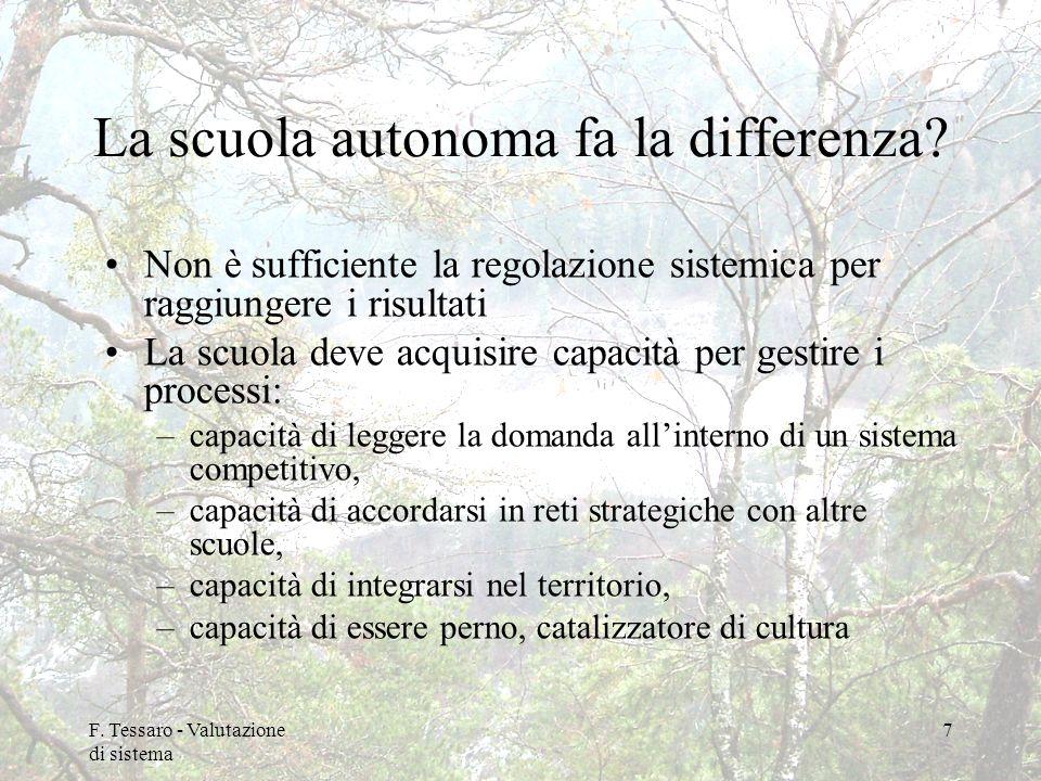 F. Tessaro - Valutazione di sistema 7 La scuola autonoma fa la differenza? Non è sufficiente la regolazione sistemica per raggiungere i risultati La s