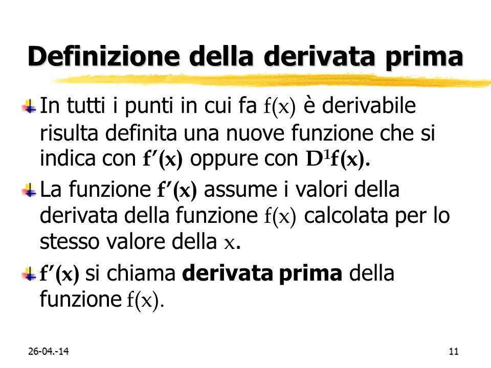 26-04.-1411 Definizione della derivata prima In tutti i punti in cui fa f(x) è derivabile risulta definita una nuove funzione che si indica con f(x) oppure con D 1 f(x).