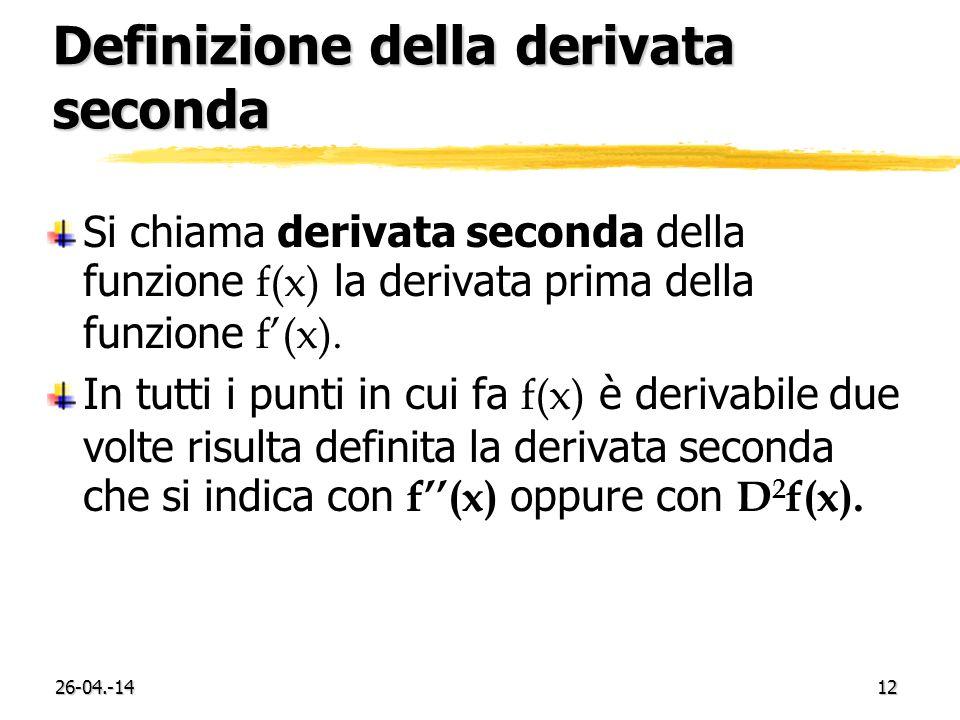 26-04.-1412 Definizione della derivata seconda Si chiama derivata seconda della funzione f(x) la derivata prima della funzione f(x). In tutti i punti