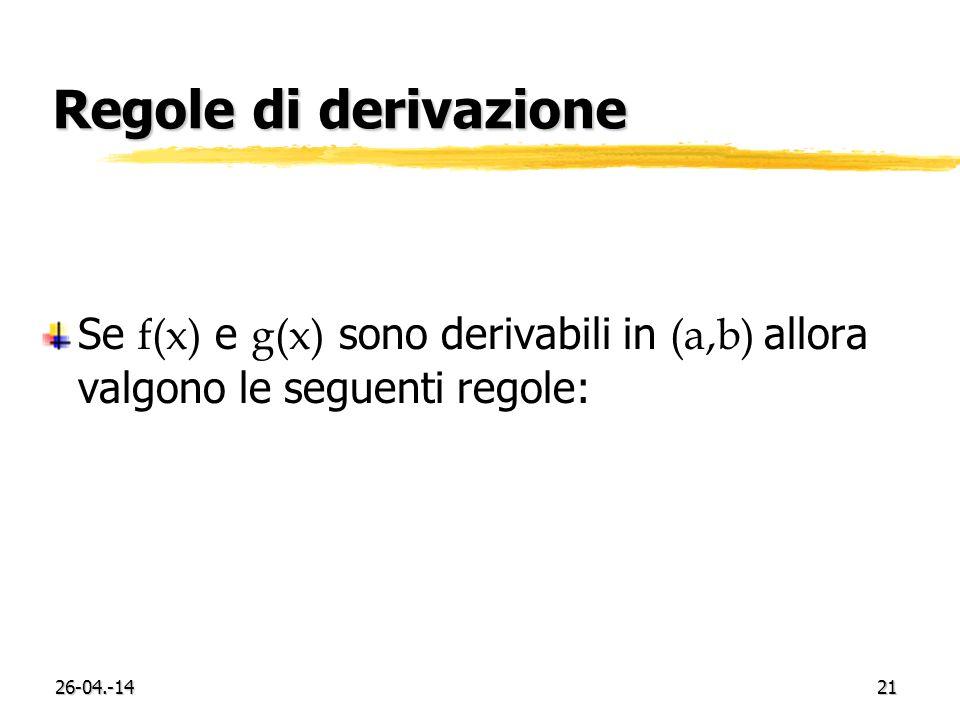26-04.-1421 Regole di derivazione Se f(x) e g(x) sono derivabili in (a,b) allora valgono le seguenti regole: