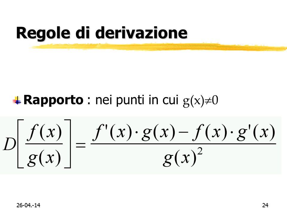 26-04.-1424 Regole di derivazione Rapporto : nei punti in cui g(x) 0