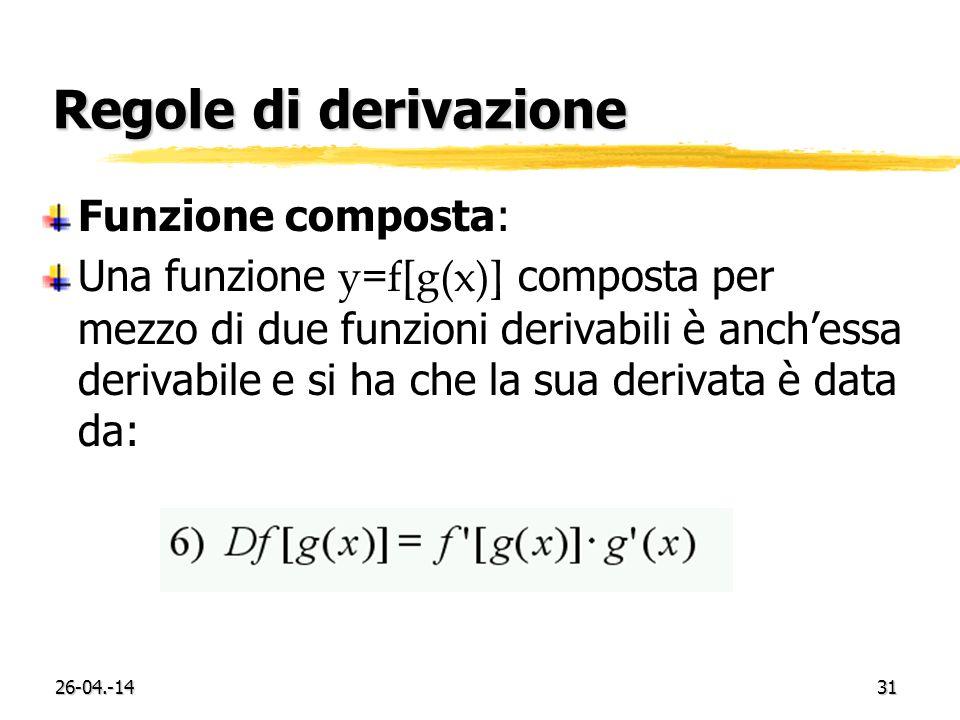 26-04.-1431 Regole di derivazione Funzione composta: Una funzione y=f[g(x)] composta per mezzo di due funzioni derivabili è anchessa derivabile e si ha che la sua derivata è data da: