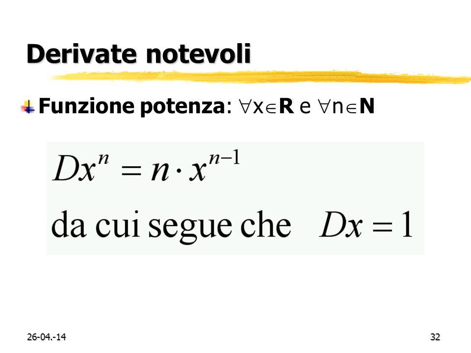 26-04.-1432 Derivate notevoli Funzione potenza: x R e n N