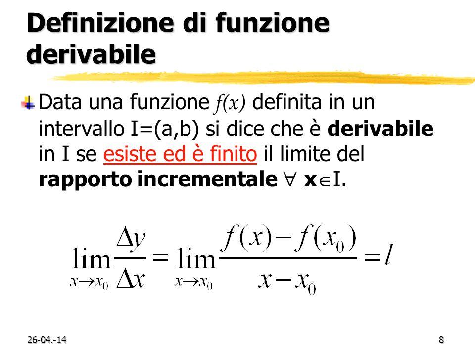 26-04.-149 Retta tangente Data una funzione f(x) definita in un intervallo I=(a,b), lequazione della retta tangente alla curva f(x) nel punto di ascissa x 0 è: y=f(x 0 )+f(x 0 )(x- x 0 )
