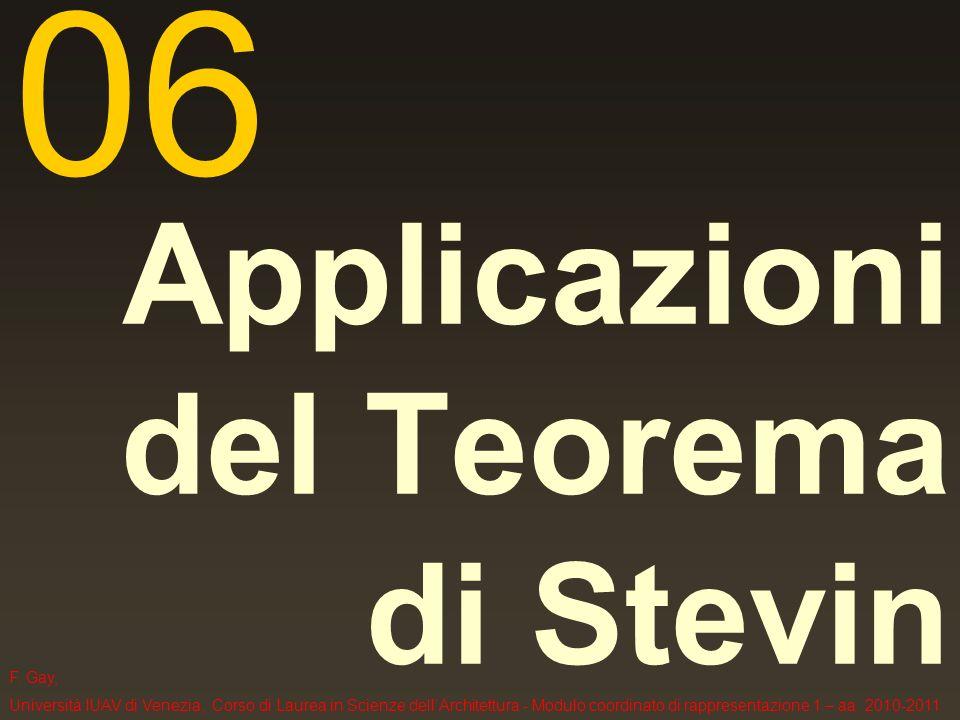 F. Gay, Università IUAV di Venezia, Corso di Laurea in Scienze dellArchitettura - Modulo coordinato di rappresentazione 1 – aa. 2010-2011 Applicazioni