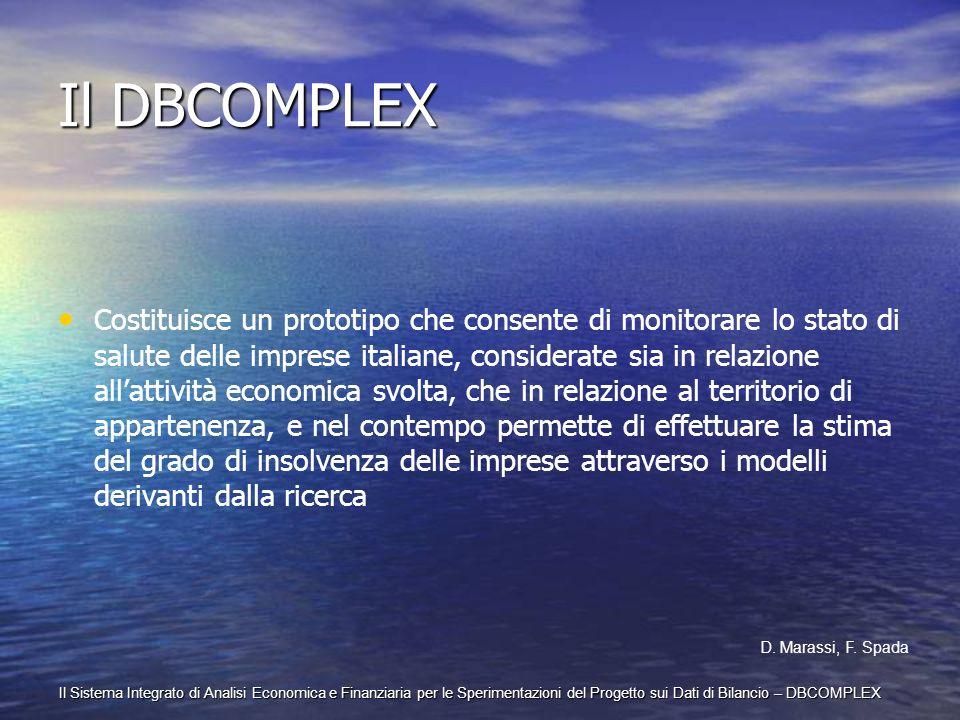 Il Sistema Integrato di Analisi Economica e Finanziaria per le Sperimentazioni del Progetto sui Dati di Bilancio – DBCOMPLEX Il DBCOMPLEX Costituisce
