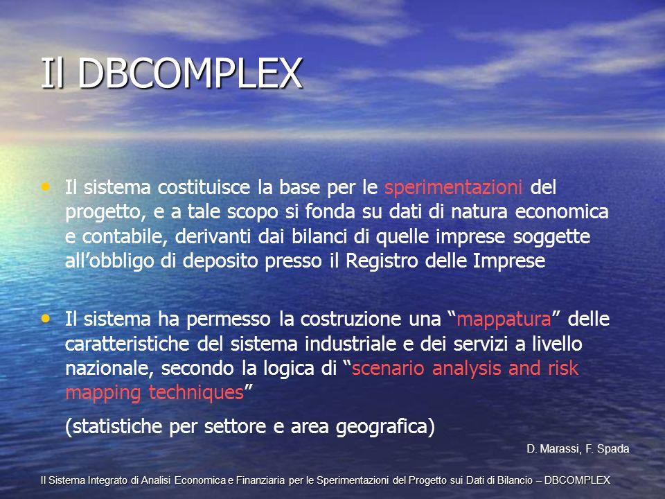 Il Sistema Integrato di Analisi Economica e Finanziaria per le Sperimentazioni del Progetto sui Dati di Bilancio – DBCOMPLEX Il DBCOMPLEX Il sistema c