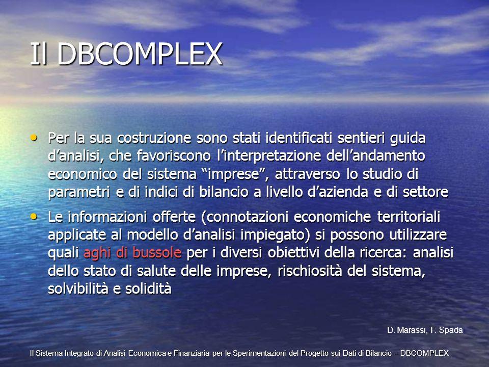 Il Sistema Integrato di Analisi Economica e Finanziaria per le Sperimentazioni del Progetto sui Dati di Bilancio – DBCOMPLEX Il DBCOMPLEX Per la sua c