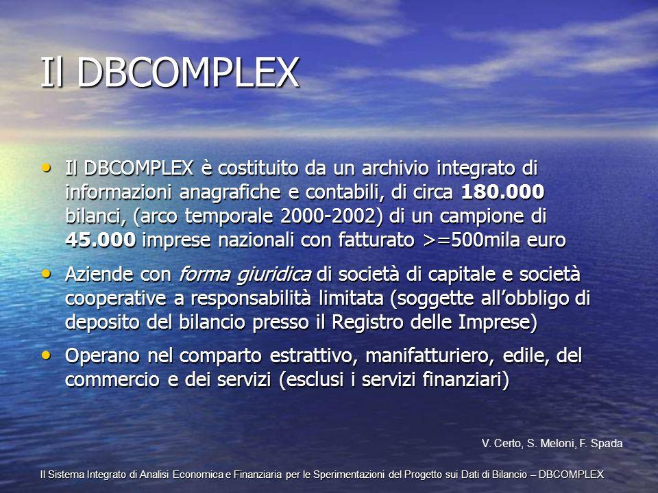 Il Sistema Integrato di Analisi Economica e Finanziaria per le Sperimentazioni del Progetto sui Dati di Bilancio – DBCOMPLEX Il DBCOMPLEX Il DBCOMPLEX