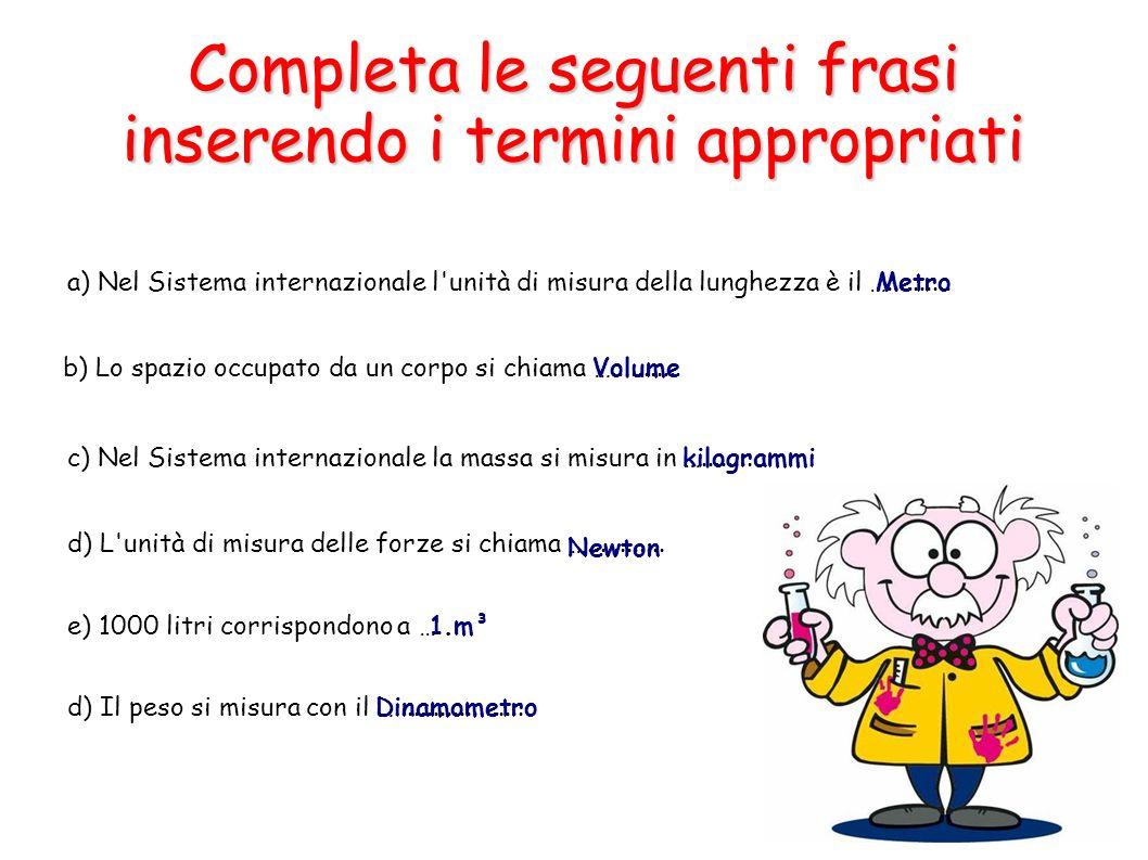 Completa le seguenti frasi inserendo i termini appropriati a) Nel Sistema internazionale l'unità di misura della lunghezza è il ….......... b) Lo spaz