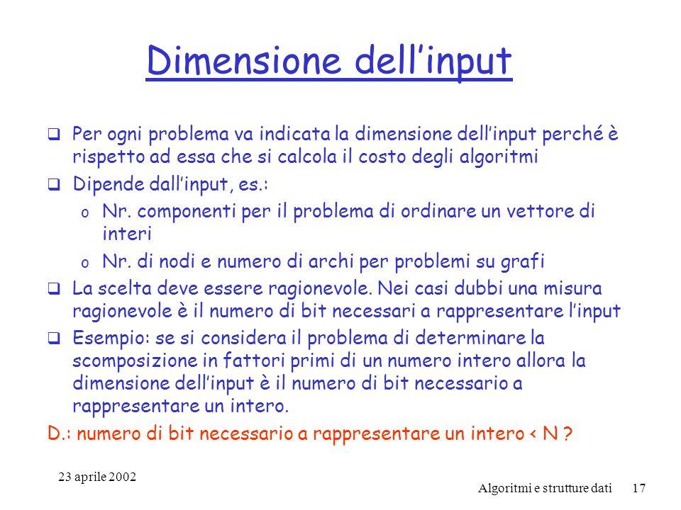 23 aprile 2002 Algoritmi e strutture dati17 Dimensione dellinput Per ogni problema va indicata la dimensione dellinput perché è rispetto ad essa che si calcola il costo degli algoritmi Dipende dallinput, es.: o Nr.