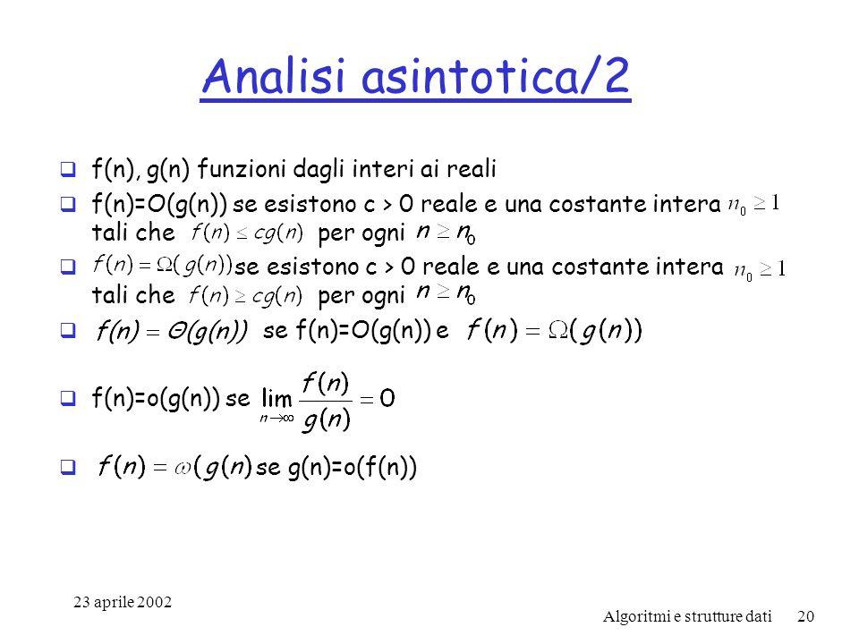 23 aprile 2002 Algoritmi e strutture dati20 Analisi asintotica/2 f(n), g(n) funzioni dagli interi ai reali f(n)=O(g(n)) se esistono c > 0 reale e una costante intera tali che per ogni se esistono c > 0 reale e una costante intera tali che per ogni se f(n)=O(g(n)) e f(n)=o(g(n)) se se g(n)=o(f(n))