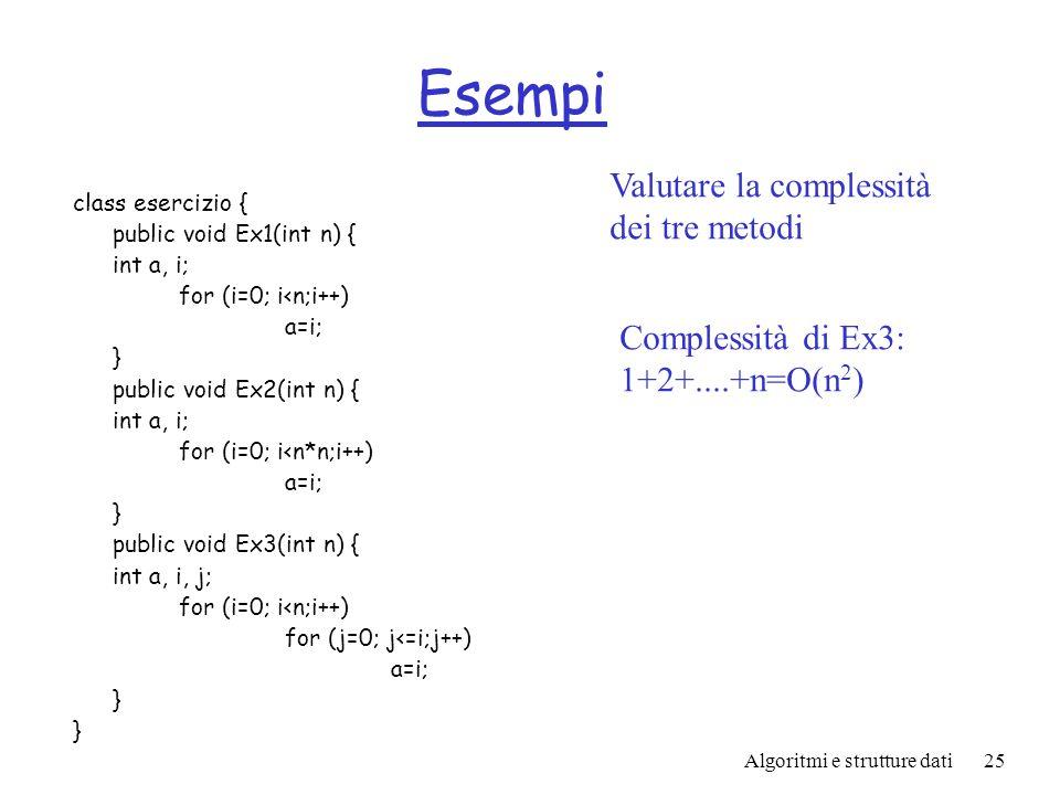 Algoritmi e strutture dati25 Esempi class esercizio { public void Ex1(int n) { int a, i; for (i=0; i<n;i++) a=i; } public void Ex2(int n) { int a, i; for (i=0; i<n*n;i++) a=i; } public void Ex3(int n) { int a, i, j; for (i=0; i<n;i++) for (j=0; j<=i;j++) a=i; } Valutare la complessità dei tre metodi Complessità di Ex3: 1+2+....+n=O(n 2 )