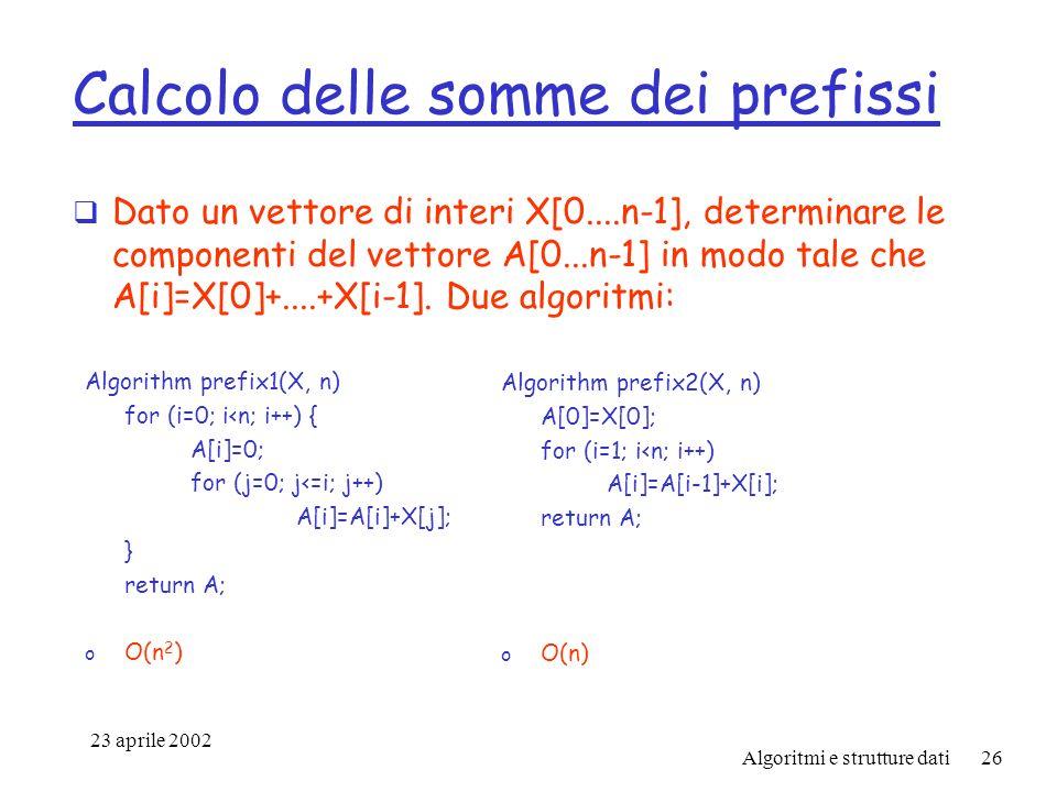 23 aprile 2002 Algoritmi e strutture dati26 Calcolo delle somme dei prefissi Dato un vettore di interi X[0....n-1], determinare le componenti del vettore A[0...n-1] in modo tale che A[i]=X[0]+....+X[i-1].
