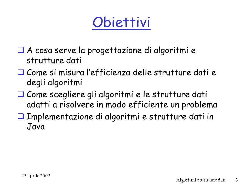 23 aprile 2002 Algoritmi e strutture dati3 Obiettivi A cosa serve la progettazione di algoritmi e strutture dati Come si misura lefficienza delle strutture dati e degli algoritmi Come scegliere gli algoritmi e le strutture dati adatti a risolvere in modo efficiente un problema Implementazione di algoritmi e strutture dati in Java