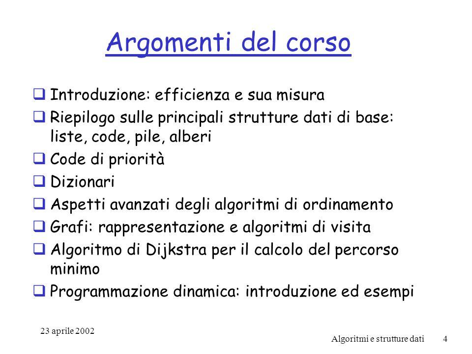 23 aprile 2002 Algoritmi e strutture dati15 Esempio/2 Perché tale modello è accettabile.