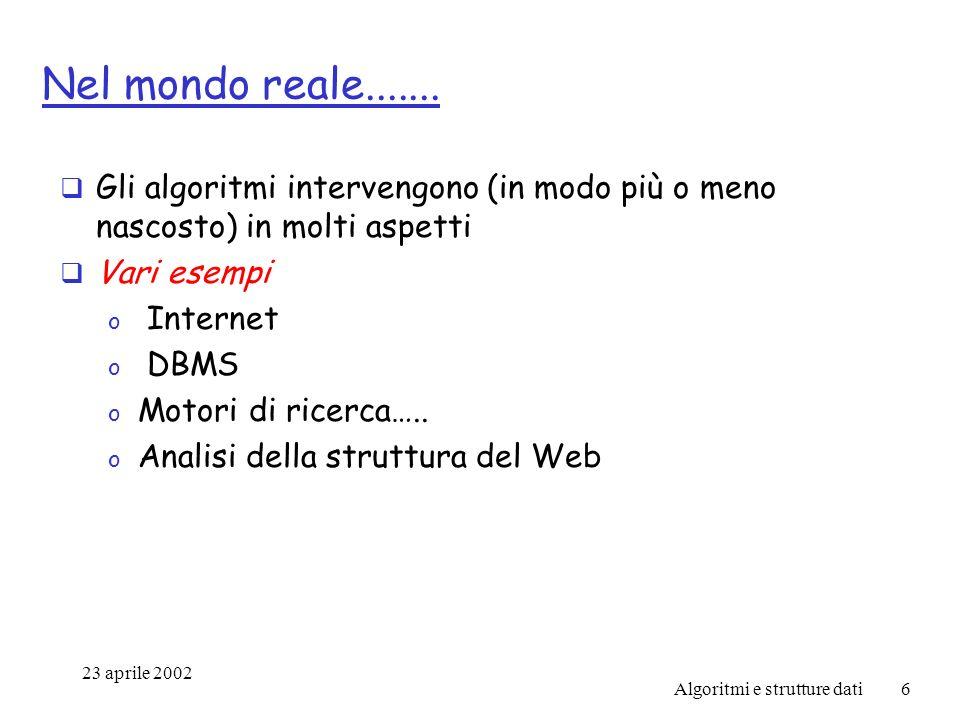23 aprile 2002 Algoritmi e strutture dati6 Nel mondo reale.......