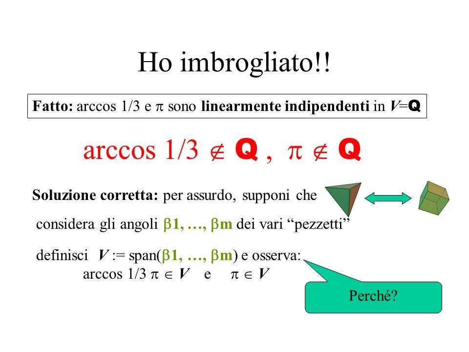 Invariante di Dehn D(P) := L = {spigoli di P} D(P) D(P1) + D(P2) Divido lo spigolo l in l 1 e l 2 |l| f( l ) |l 1 | f( l ) + |l 2 | f( l ) |l| f( l ) |l| f( l ) + |l| f( l ) Divido langolo l in l e l Cosa succede quando taglio P in P1 e P2