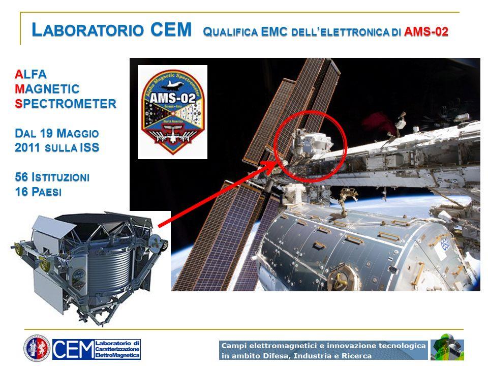 L ABORATORIO CEM Q UALIFICA EMC DELL ELETTRONICA DI AMS-02 ALFA MAGNETIC SPECTROMETER D AL 19 M AGGIO 2011 SULLA ISS 56 I STITUZIONI 16 P AESI