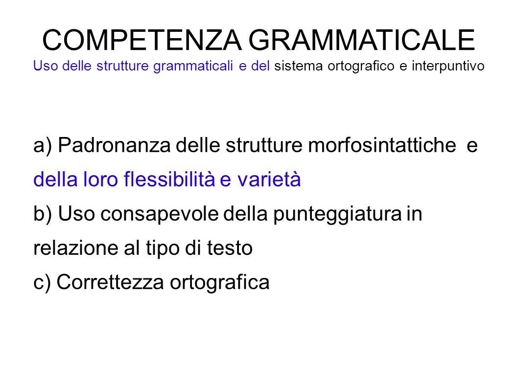 COMPETENZA GRAMMATICALE Uso delle strutture grammaticali e del sistema ortografico e interpuntivo a) Padronanza delle strutture morfosintattiche e del