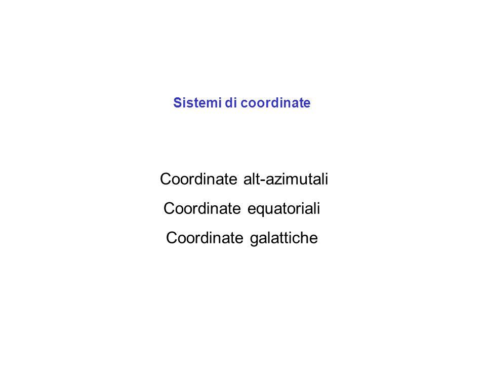 Sistemi di coordinate Coordinate alt-azimutali Coordinate equatoriali Coordinate galattiche