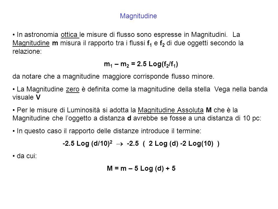 Magnitudine In astronomia ottica le misure di flusso sono espresse in Magnitudini. La Magnitudine m misura il rapporto tra i flussi f 1 e f 2 di due o