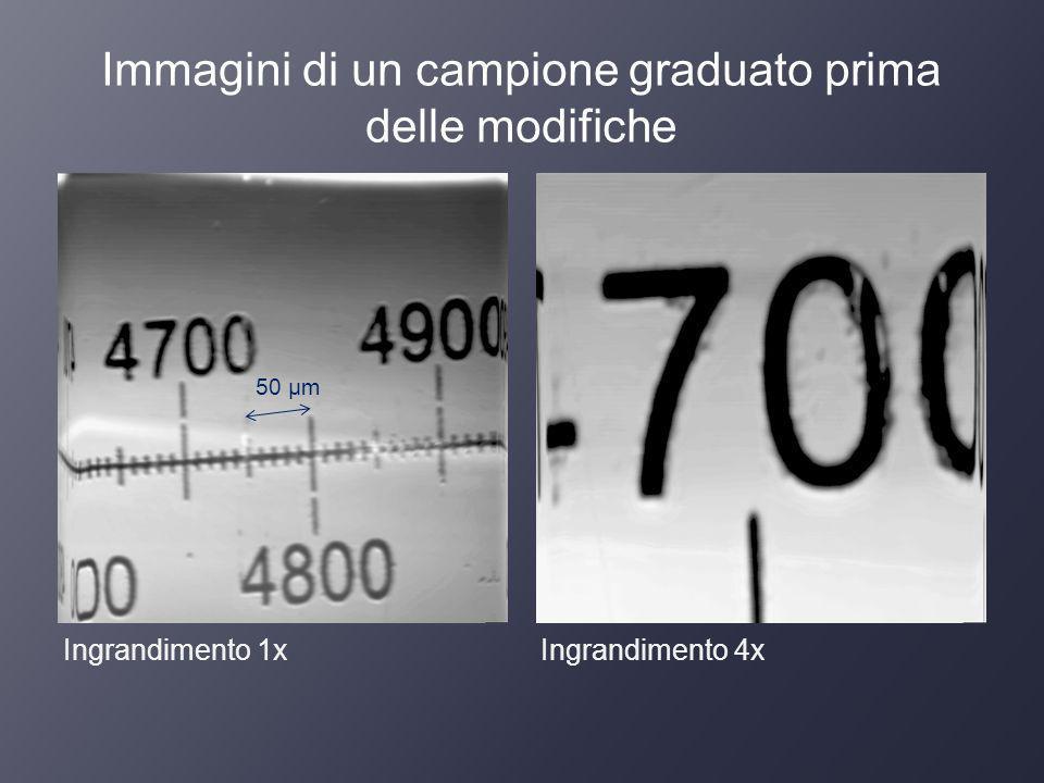 Immagini di un campione graduato prima delle modifiche Ingrandimento 1xIngrandimento 4x 50 μm