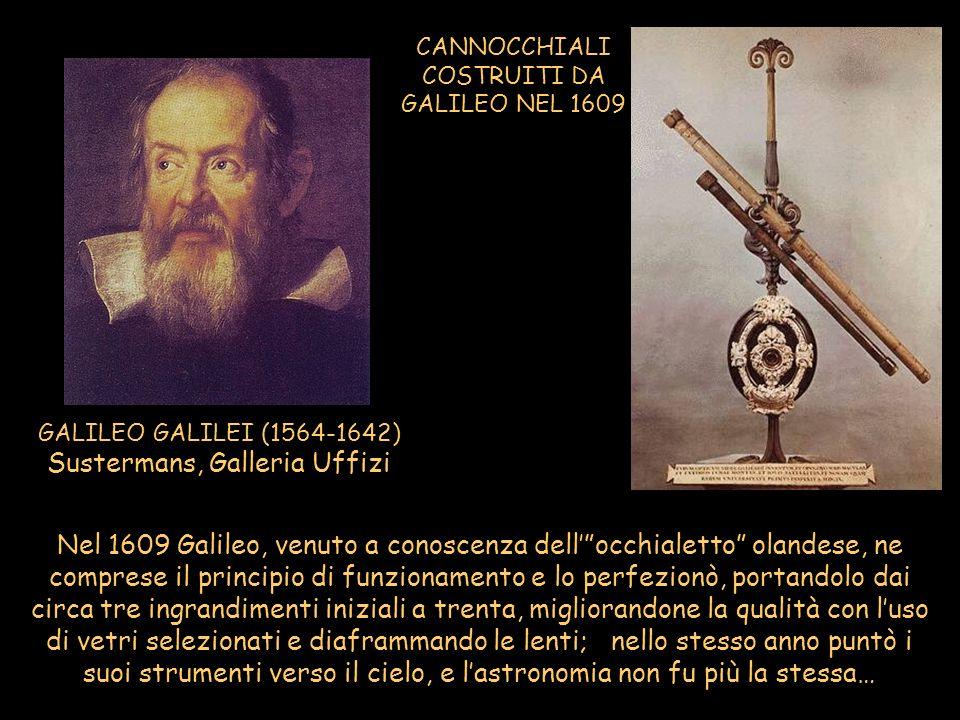 CANNOCCHIALI COSTRUITI DA GALILEO NEL 1609 GALILEO GALILEI (1564-1642) Sustermans, Galleria Uffizi Nel 1609 Galileo, venuto a conoscenza dellocchialet