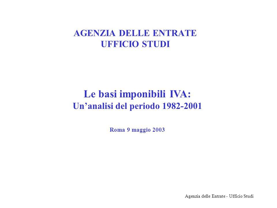 Agenzia delle Entrate - Ufficio Studi AGENZIA DELLE ENTRATE UFFICIO STUDI Le basi imponibili IVA: Unanalisi del periodo 1982-2001 Roma 9 maggio 2003