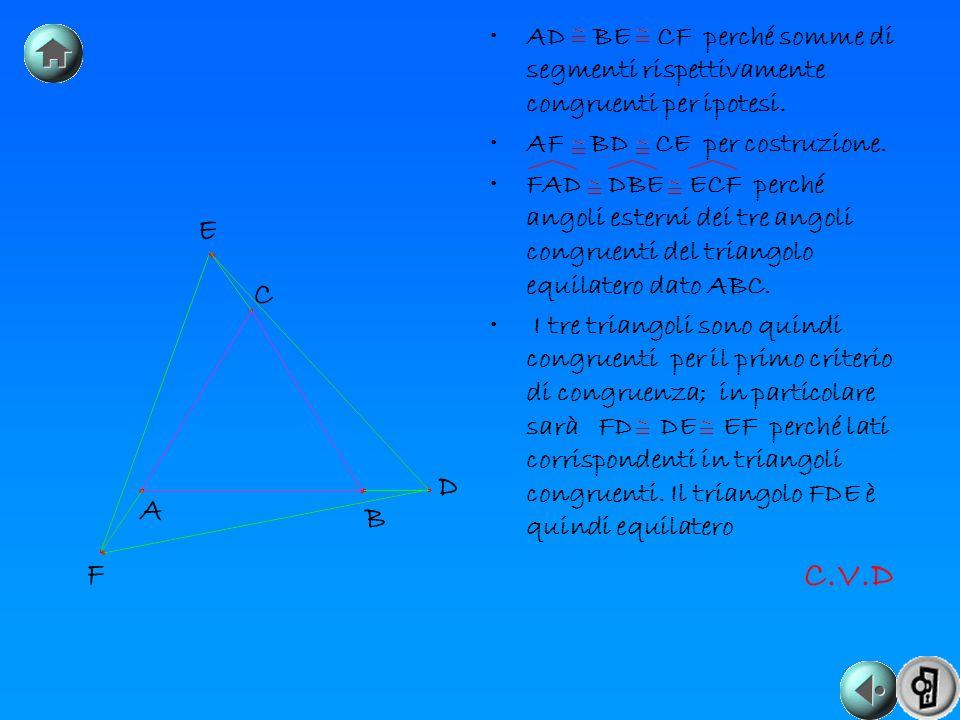 AD BE CF perché somme di segmenti rispettivamente congruenti per ipotesi. AF BD CE per costruzione. FAD DBE ECF perché angoli esterni dei tre angoli c