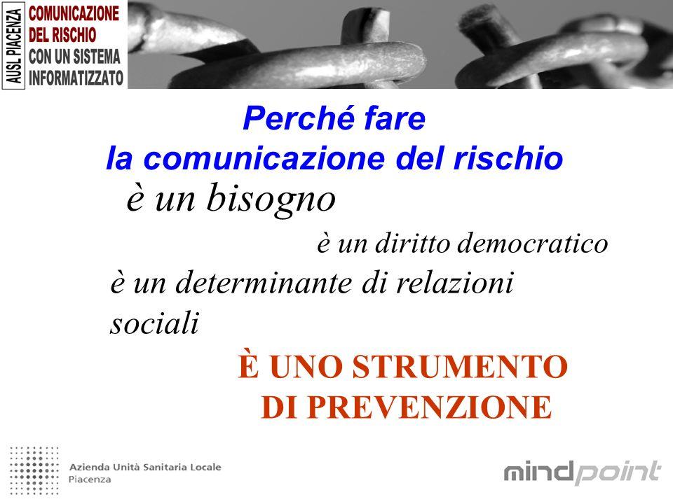 Perché fare la comunicazione del rischio è un bisogno è un diritto democratico è un determinante di relazioni sociali È UNO STRUMENTO DI PREVENZIONE