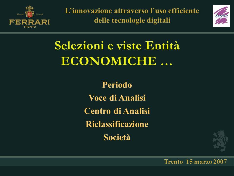 … selezioni e viste Entità PATRIMONIALI … Linnovazione attraverso luso efficiente delle tecnologie digitali Trento 15 marzo 2007 Periodo Voce Patrimoniale Riclassificazione Società