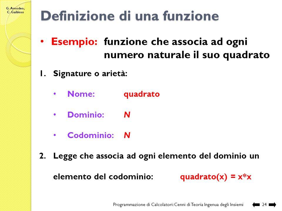G. Amodeo, C. Gaibisso Definizione di una funzione Programmazione di Calcolatori: Cenni di Teoria Ingenua degli Insiemi23 1.Signature o arietà: nome d