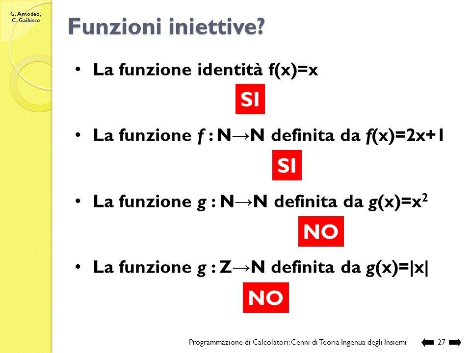 G. Amodeo, C. Gaibisso Funzioni iniettive? Programmazione di Calcolatori: Cenni di Teoria Ingenua degli Insiemi26 SI NO