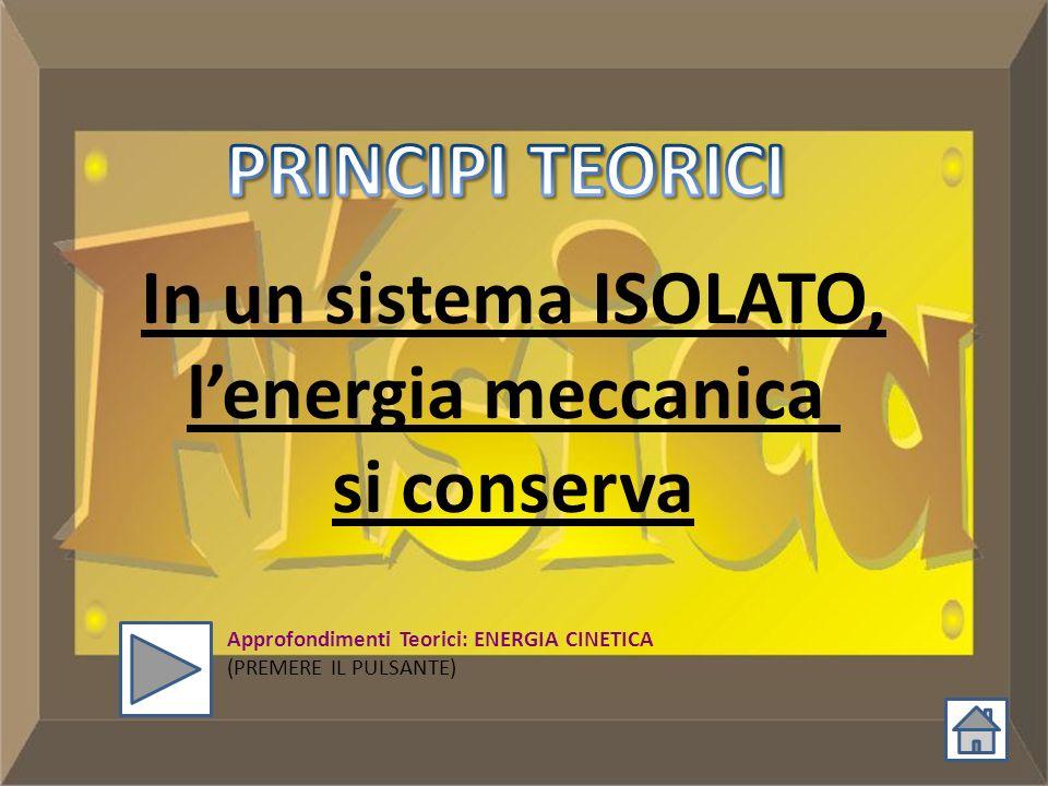 In un sistema ISOLATO, lenergia meccanica si conserva Approfondimenti Teorici: ENERGIA CINETICA (PREMERE IL PULSANTE)