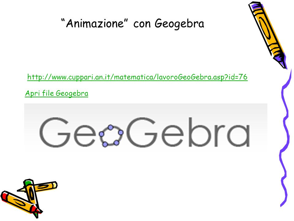 Animazione con Geogebra http://www.cuppari.an.it/matematica/lavoroGeoGebra.asp?id=76 Apri file Geogebra