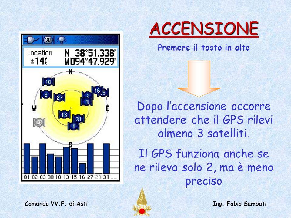 Comando VV.F. di AstiIng. Fabio Sambati Dopo laccensione occorre attendere che il GPS rilevi almeno 3 satelliti. Il GPS funziona anche se ne rileva so