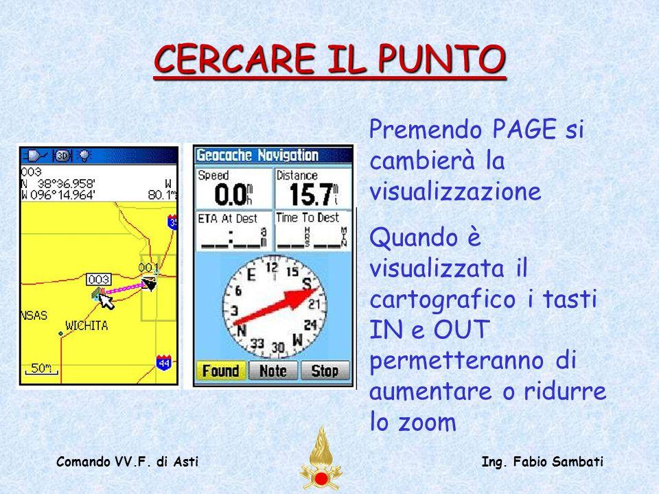 Comando VV.F. di AstiIng. Fabio Sambati Premendo PAGE si cambierà la visualizzazione Quando è visualizzata il cartografico i tasti IN e OUT permettera