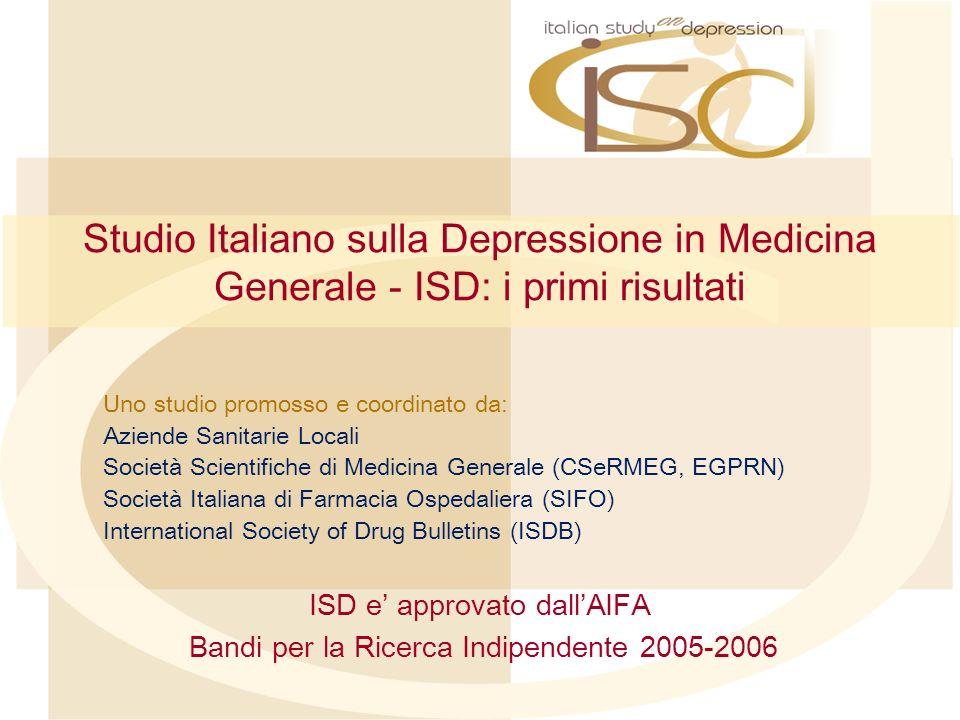 Studio Italiano sulla Depressione in Medicina Generale In una logica di studi finalizzati al miglioramento dellassistenza (DM 17.12.2004), la disponibilità di un data base aperto, consente ai ricercatori (MMG) di formulare le domande più pertinenti-aderenti alla pratica clinica