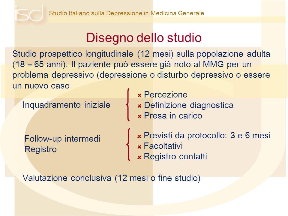 Studio Italiano sulla Depressione in Medicina Generale Disegno dello studio Valutazione conclusiva (12 mesi o fine studio) Studio prospettico longitud