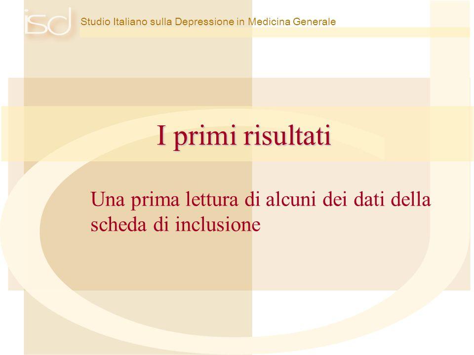 Studio Italiano sulla Depressione in Medicina Generale I primi risultati Una prima lettura di alcuni dei dati della scheda di inclusione