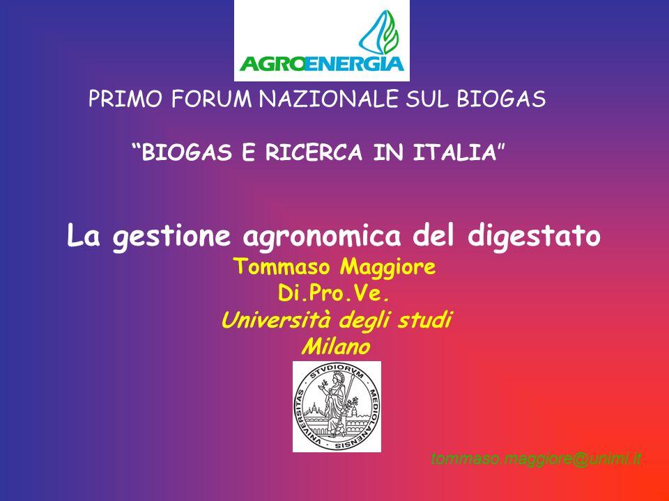 PRIMO FORUM NAZIONALE SUL BIOGAS BIOGAS E RICERCA IN ITALIA La gestione agronomica del digestato Tommaso Maggiore Di.Pro.Ve.